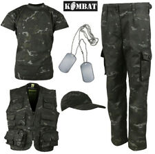 kids army suit kit set sas black night cam camouflage  stealth  spec ops  3-4