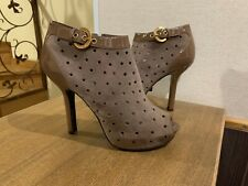 Louis Vuitton Booties Beige Perforated Suede Patent Leather Heels Peep 37 US 7