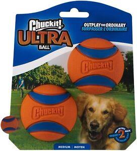 "Chuckit! Ultra Dog Fetch Pet Ball Medium 2.5"" 2 Pack Orange/Blue Free Delivery"