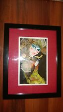 "Cuban Artist Charo Original Signed Oil-Mix  Painting CHAMART ""BIRD IN HAND LADY"""