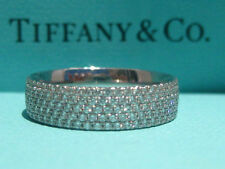 TIFFANY & CO. METRO 5 ROW DIAMOND 18K WHITE GOLD WEDDING ENGAGEMENT RING 6 NEW