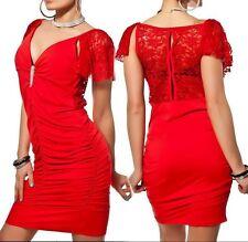 SeXy Miss Damen Mini Kleid Edel Brosche Strass Spitze Raff Dress 34/36/38 rot