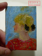 Original ACEO Miniature PAINTING Artist Signd Cathy Peterson RUSSIAN GIRL IN RED