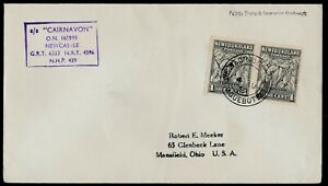 "NEWFOUNDLAND 1955 PAQUEBOT COVER: British - ""S.S. CAIRNAVON"", Edinburgh - ph137"