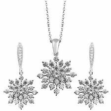 SILVER TONE 14K WHITE GOLD CRYSTAL CHRISTMAS SNOWFLAKE NECKLACE EARRINGS SET