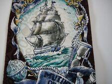 Mens Tie Nautical Mutiny on the Bounty Necktie Silk 1993 Black Multi Color VTG