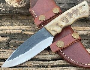 Hand Forged High Carbon Steel Skinner Hunting Knife Ram Horn Handle with Sheath