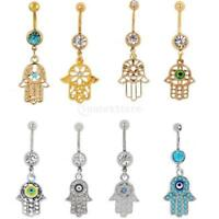 Shiny Crystal Fatima Hand Dangle Belly Button Ring Body Piercing Lucky Charms