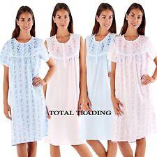 Ladies Floral Short Sleeve Night Shirt Nightdress Summer Nightie Cotton Poly