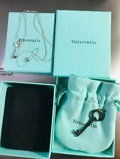 Tiffany & Co 18k White Gold Diamond Heart Key Pendant Necklace + Gift