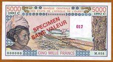 SPECIMEN West African States, Burkina Faso, 5000 (5,000) Fr, P-308Cs UNC