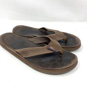 Rainbow Original Brown Leather Flip Flops  Men's Size 7 Women's Size  9
