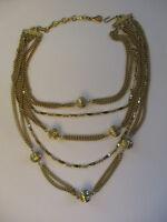 Vintage Mod Retro Signed Coro Gold Tone 5 Strand Chain & Bead Choker Necklace!