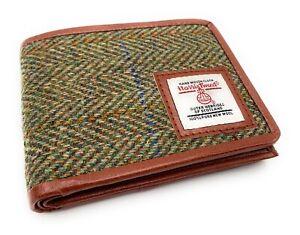 Mens Harris Tweed Trifold Wallet Green Herringbone