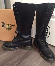 Dr Martens Black 9663 Tall Knee High 20 Eye Punk Combat Boots UK 8 US Women 10