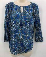Liz Claiborne Blouse Top Shirt Size Small Blue Floral Boho 3/4 Sleeve Hi Low Hem