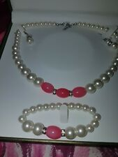 ladies faux glass pearl necklace bracelet and earrings in leather bound box