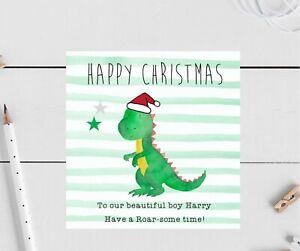 Personalised Christmas Card Dinosaur Son, daughter Grandson friend