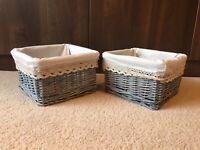2x Small Grey Stylish Christmas Hamper Wicker Storage Baskets Bedroom
