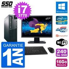 "PC LENOVO M82 SFF Screen 27 "" Intel i7-3770 RAM 16Go SSD 240Go Windows 10 Wifi"