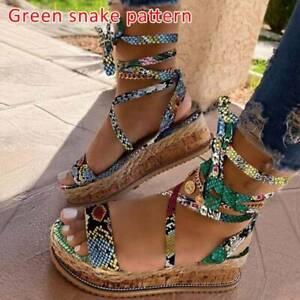 Women Flat Wedge Summer Sandals Ankle Lace Up Platform Espadrilles Shoes Size UK