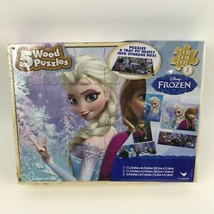 Disney Frozen 5 Wood Puzzles w/Storage Box+Tray Elsa Anna Educational Puzzle,New