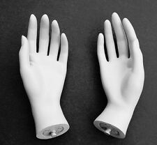 Mn-HandsF-Qs Pair Of White Left & Right Female Mannequin Hands (White Only)