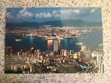 """POSTCARD UNUSED HONG KONG NIGHT SCENE OF HONK KONG HARBOR FROM """"THE PEAK"""""""