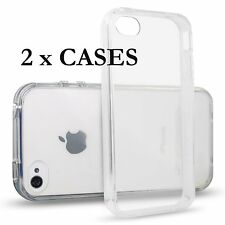 2 x Pieces - Transparent Clear Flex Rubber Gummy Skin Case Cover for iPhone 4 4S