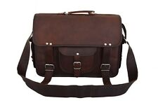"Mens Vintage Leather Briefcase Shoulder Bag Office 17"" Laptop Satchel Messenger"