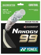 Yonex nanogy 99 badminton String 10m Set-Bianco