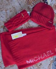 MICHAEL KORS 3 PC SET HAT/ SCARF/ FINGERLESS GLOVES RED / GOLDTONE NWT