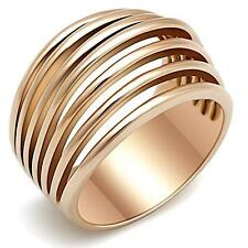 WOMEN'S ROSE GOLD PLATED STAINLESS STEEL WIDE BAND DOME FASHION RING SZ 5-10