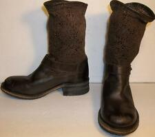 Free People Brown LEATHER Crochet Lace Beau Boots womens EU36 US6 slouch NEW
