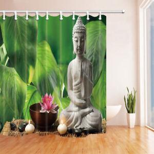 "Buddha Shower Curtain Lotus Floral Green Leaves Bathroom Waterproof Fabric 71"""