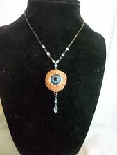 Creepy Antique Blue Glass Eye Eyeball Rhinestones Necklace Victorian Wedding