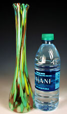 "MURANO HAND BLOWN Vase 10.5"" Italy Art Glass END of DAY SPATTER Design FAB"