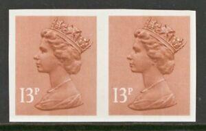 GB Error 1971 13p Machin variety Imperf pair SG 900a A superb U/M pair Cat £775