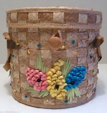 Handbag PURSE FLORIDA 1950's Bucket Basket Straw Detailed Statement VINTAGE MCM