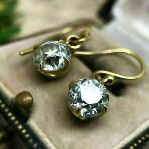 2 Ct Round-Cut Diamond Solitaire Drop Dangle Hook Earrings 14k Yellow Gold Over