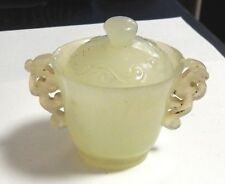 CHINESE TRANSLUCENT CELADON WHITE JADE BOWL CUP WITH LID