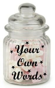 Personalised own words Sweets Treats Sticker label Mason Jar Kids birthday xmas