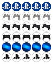 30x 4cm PLAYSTATION LOGO ETC. EDIBLE FONDANT/WAFER FAIRY CUP CAKE TOPPERS