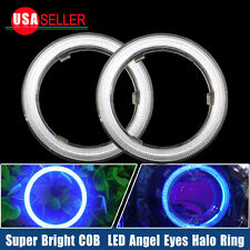 2 X Ultra Blue 60mm 66 COB LEDs Angel Eyes Halo Ring Headlight&Fog Housing Lamp