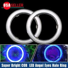 2 X Ultra Blue 60mm 66 COB LEDs Angel Eyes Halo Ring Headlight&Fog Housing Lamp