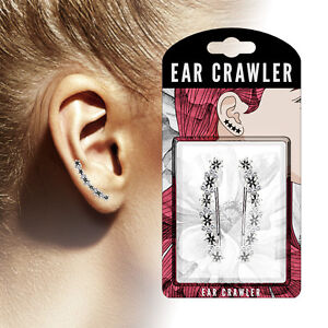 PAIR of Crystal Set Antique Finish Flowers Ear Crawler / Climber 20g Earrings