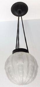 Antique Chandelier Suspension Art Deco Wrought Iron Globe Geometric 1930 (2)
