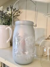Shabby French Vintage Chic Grey White Butterfly and Flowers Glass Candle Lantern