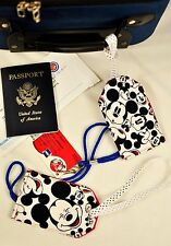 """hand crafted fabric luggage tags set of 2 secure info 3.5"""" X 5.5"""" mickey mouse"""