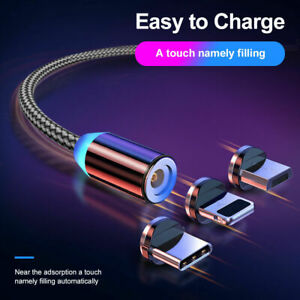 3 in 1 Magnetic Cable 3A Fast Charging Cable for Micro USB Type C IOS Ships USA!